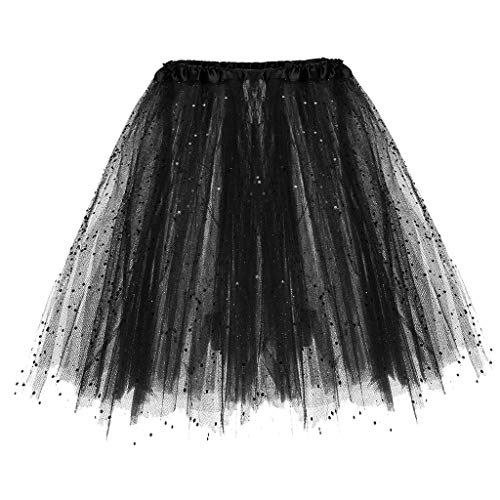 Baiggooswt Women's Classic Elastic 3 or 4 Layered Tulle Tutu Sequin Three Floors Lace Teen Adult Skirt Black -