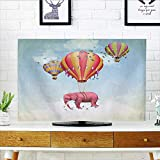 Auraisehome Television Protector Pink Elephant in The Sky with Balloons Illustration Daydream Fairytale Travel Television Protector W19 x H30 INCH/TV 32''