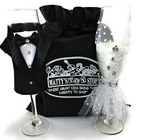 Bride and Groom Handmade Wedding Dress & Tuxedo Champagne Flute Glasses Gift Set Bundle with Exclusive Matty's Toy Stop Storage Bag - Perfect for Wedding, Bridal Shower, Engagement & So Much More. ()