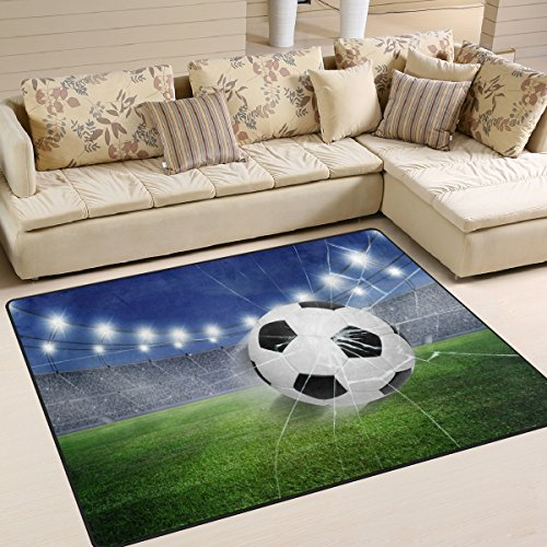 Small Soccer Ball Rug - ZOEO Non Slip Area Rugs Green 3D Football Soccer Sofa Mat Living Room Bedroom Carpets Doormats Home Decor 4x5