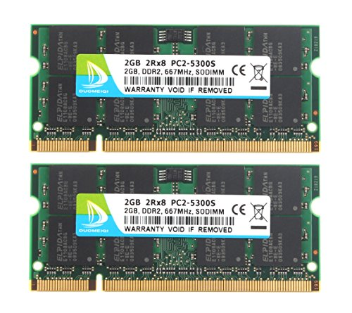 DUOMEIQI 4GB Kit (2 X 2GB) DDR2 667MHz SODIMM 2RX8 PC2-5300S 200pin 1.8v CL5 Unbuffered Non-ECC Dual Channel Notebook Memory Laptop RAM Module for Intel AMD and Mac ()