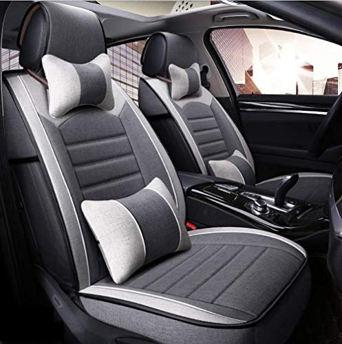 HOSHT Flax/Linen 5 Seats Car Seat Cover Full Set 9 Piece Set Comfortable Breathable Non-Slip Car Seat Cushion with Headrest and Lumbar Pillow (Color : Gray)