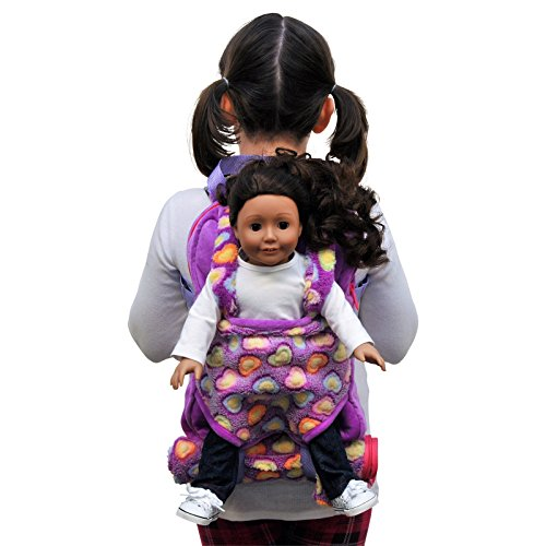 The Queen's Treasures Purple Soft Fancy Baby Doll Backpack Carrier and Sleeping Bag for 18 inch and 15 inch Dolls. Fits American Girl Doll & Bitty Babies