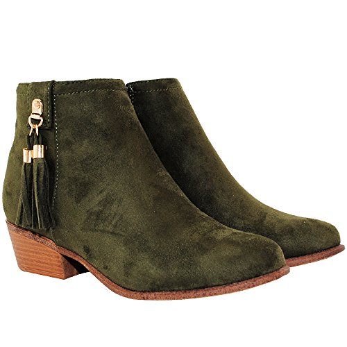 (TRENDSup Collection Women's Western Inside Zipper Stacked Heel Ankle Booties (7.5, Olive))