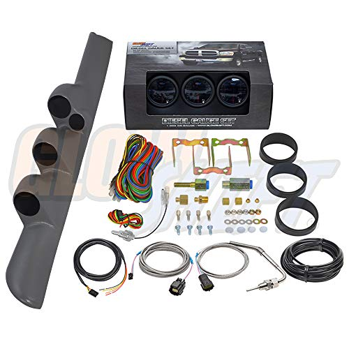 GlowShift Diesel Gauge Package for 1998-2002 Dodge Ram Cummins 2500 3500 - Tinted 7 Color 60 PSI Boost, 1500 F Pyrometer EGT & Transmission Temp Gauges - Gray Triple Pillar Pod w Speaker Cutout