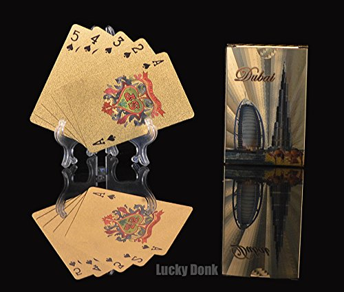 Gold Foil Coated PLAYING CARDS FULL POKER DECK Gift Dubai two buildings color Design+ free Lucky Donk sticker