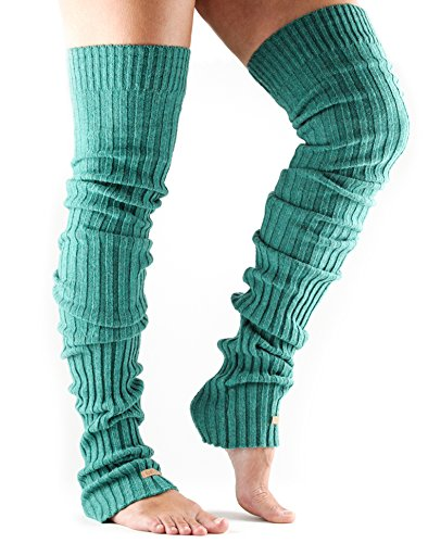 ToeSox Women's Thigh High Ribbed Knit Warmers (Forest Ribbed)