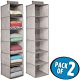 mDesign Fabric Hanging Closet Storage Organizer for Clothing, Sweaters, Shoes, Accessories - Pack of 2, 6 Shelves Each, Linen