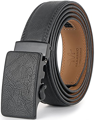 (Marino Men's Genuine Leather Ratchet Dress Belt With Automatic Buckle, Enclosed in an Elegant Gift Box - Black - Style 131 - Adjustable from 28