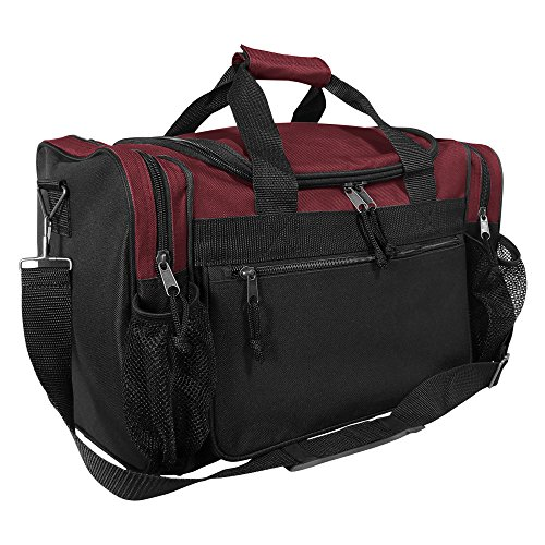 DALIX 17' Duffle Bag Front Mesh Pockets in Maroon)