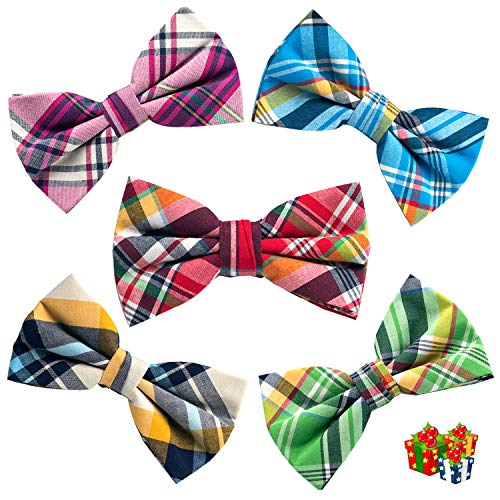 OUMUS 5 PACKS Elegant Adjustable Pre-tied Bow Ties or 1 Bowtie & Handkerchief Set Gift For Men Boys -