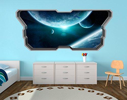 Moonwallstickers 3D Wallpaper Effect (58.27 x 24.80 inches, Spaceship Enterprise Seeking New Worlds)