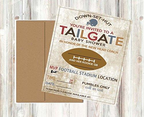 Review Vintage Retro Tailgate Football Baby Shower Invitations Decor and Party Games (Tailgate Invitations)