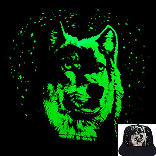 [2016 New Glow in the dark hip hop Snapback cap hat (Wolf shape)] (Gangster Hats For Sale)