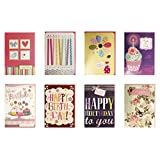 Birthday Cards Assorted Handmade Embellished Cards Box Set Bulk Assortment for Her Birthday, 8 Piece