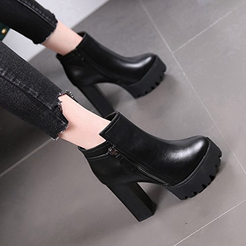 High Boots Heels Head Boots Thick Black Heels Martin Boots New Heeled High Bottom With MDRW Waterproof Thick Winter wagZZ