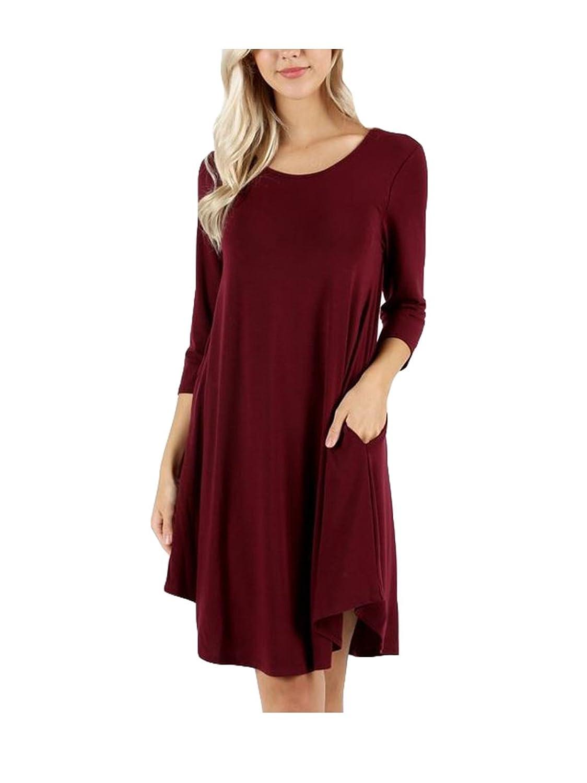 JKC USA Premium Pocketed 34 Sleeve Round Hem A Line Dress