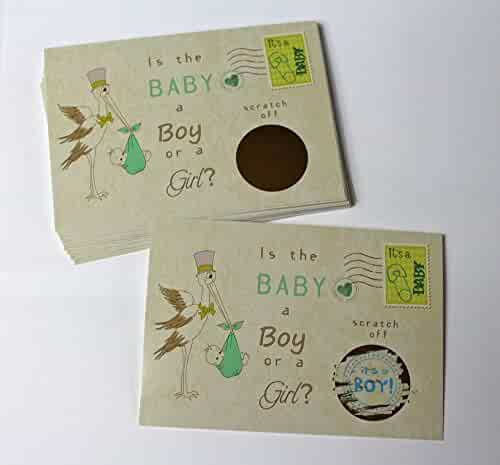 Stork Gender Reveal Scratch off Cards, Reveal The Sex of your Baby, Boy or Girl,Pink or Blue, Baby Shower Scratch-off gender announcement, Mailable Postcards Qty 25 My Scratch Offs (BLUE~ Boy)