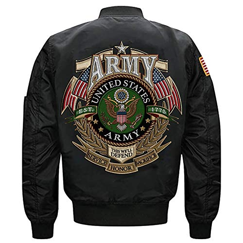 U.S. Arrmy EST 1775 This We'll Defend Service Honor Sacrifice MA-1 Flight Embroidered Bomber Jacket (Black, M)