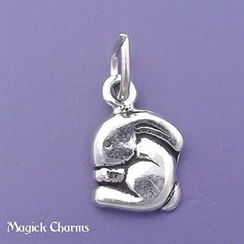 925 Sterling Silver Bunny Charm Rabbit Miniature Small Jewelry Making Supply, Pendant, Charms, Bracelet, DIY Crafting by Wholesale ()