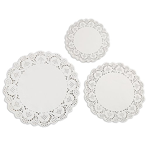 DECORA 180 Pieces White Round Paper Lace Doilies for Party or Wedding Tablewear Decoration - Lace Vases