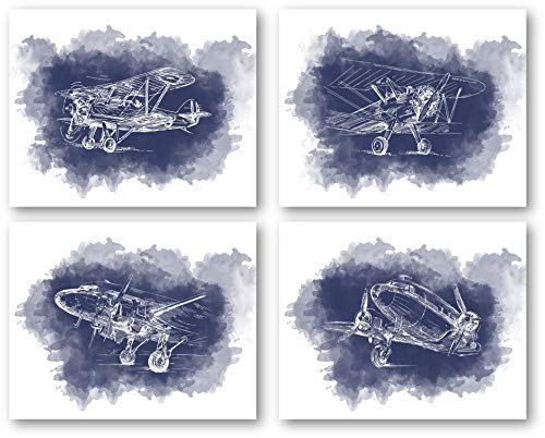 Ramini Brands Airplane Baby Nursery Wall Decor Art Prints - Set of 4 8 x 10 Unframed Prints - Great Gift for Baby Showers, Pilots, Air Traffic Controllers