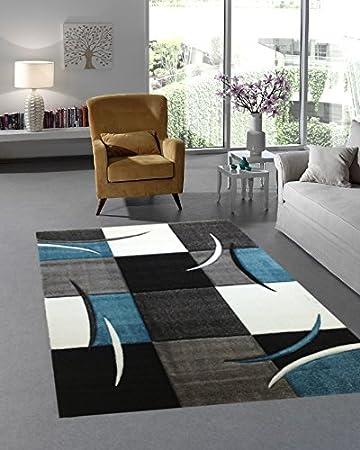 Moderner Designer Teppich Wohnzimmer Kurzflor 3D Konturenschnitt ...