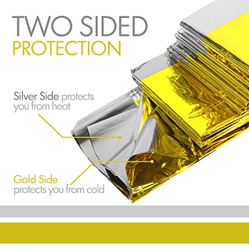 Emergency Mylar Thermal Blankets Double Sided Gold/Silver (5 Pack) Plus Bonus Survival Whistle, Best for Outdoor, Camping, Hiking, Survivalist, Shelters, Hunting, First Aid Kit