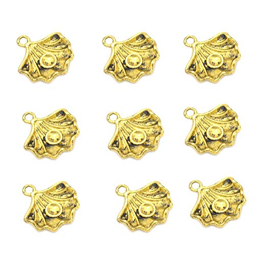 Gold Snail Charm - 100pcs Vintage Antique Gold Alloy Spiral Conch Sea Snail Charms Pendant Jewelry Findings for Jewelry Making Necklace Bracelet DIY 15x15mm (100pcs Gold Conch)