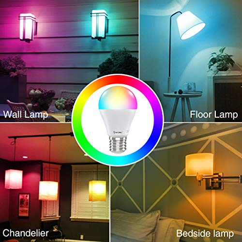 Onforu Smart Light Bulbs, WiFi Smart Bulb That Work with Alexa, RGBW Color Changing Light Bulb, E26 A19 Dimmable LED Light Bulb with Music Synchronized, Compatible with Google Home, Echo (6 Pack)