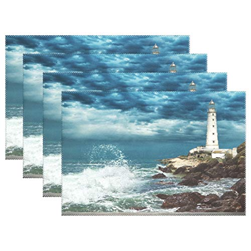ALAZA Lighthouse and Wood Pier Placemats for Dining