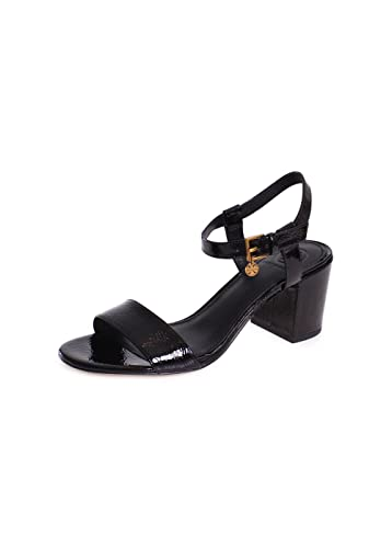 8e1d3e5877d Tory Burch Laurel 65MM Patent Leather Ankle Strap Heeled Sandals in Black  Size 6.5