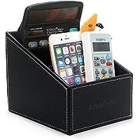 Amariver Black Pu Leather Remote Control/controller Tv Guide/mail/cd Organizer/caddy/holder