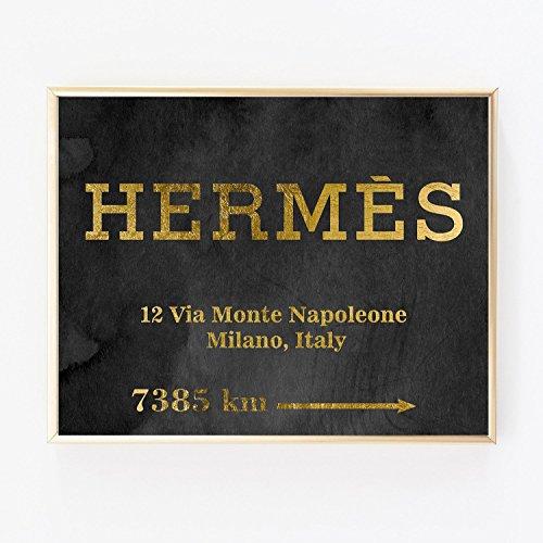 Hermes Gold Foil Leaf Art Wall Print distance Prada like Mar