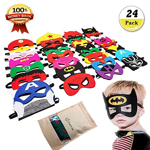 JunYito Superheroes Masks 24Pcs Party Bag Fillers Superhero Eye Masks for Kids Adults Party Favors Toys Supplies(24Pack Masks)]()
