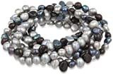 7-Piece Black, Peacock, Silver Grey Dyed Freshwater Cultured Pearls Stretch Bracelet Set, 7.5'