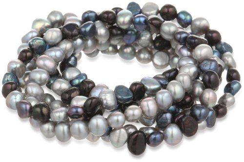 7-Piece Black, Peacock, Silver Grey Dyed Freshwater Cultured Pearls Stretch Bracelet Set, 7.5