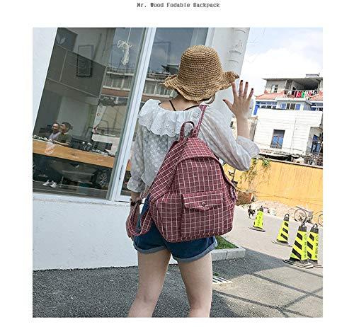 Plaid Red En Femmes Sac D'École Dos Sacs Sac VHVCX Fashion Grande Simple À College Toile Capacité Avec wanzBBxtF