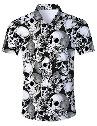 Goodstoworld Funny Hawaiian Skull Shirts 3D Print Fish Youth Beachwear Aloha Button Down Unique Dress Shirt Casual Polo Retro Awesome Camp Tropical Costumes Black Grey L]()