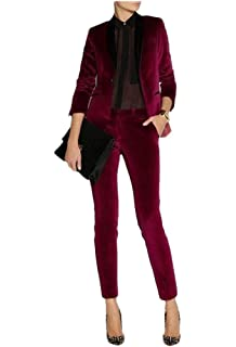 WZW Womens Formal Wear Pantsuits Burgundy Ladies Business Office Tuxedos Formal Work Wear Suits