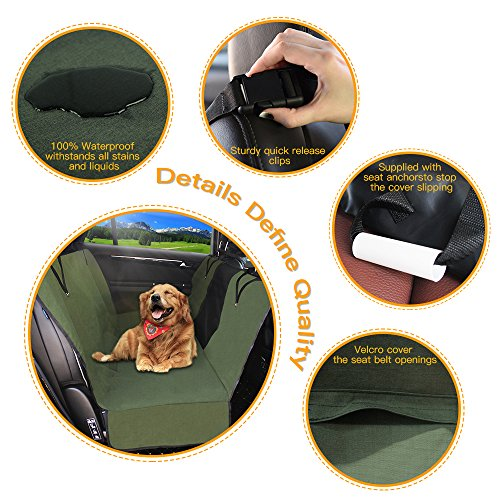 Dog Seat Cover Car Seat Covers for Pets With Storage bag- Nonslip Backing, 600D Waterproofand Hammock Style Easy to Clean and Install for Cars, Trucks and Suv's by YonRui (Image #3)