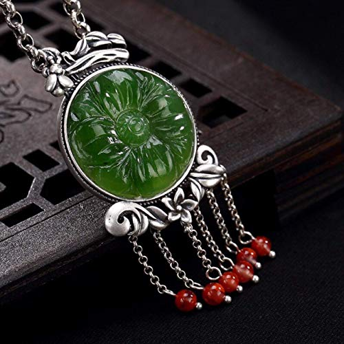 - 925 Sterling Silver Tassel Pendant Necklace For Women, Natural 5A Green Hetian Jade And Red Agate Beads, 24'' Chain Necklace, Vintage Jade Neckace, Ethnic Gemstone Pendant Necklace, Gift For her