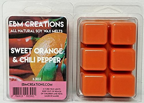 Sweet Orange & Chili Pepper - Scented All Natural Soy Wax Melts - 6 Cube Clamshell 3.2oz Highly Scented! (Crunch Chili Pepper)