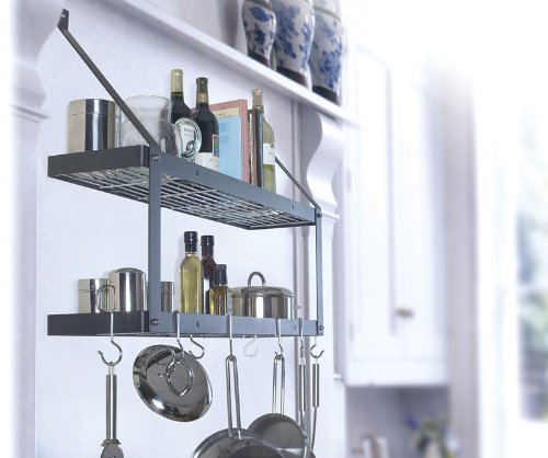 Black and Chrome Double Bookshelf Style 8 Hook Pot Rack