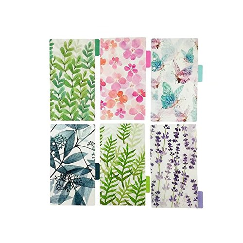 Plastic Binder Index Dividers, 18-Tab(Forest Series, 3 Sets, Each 6-tab), Assorted Designs, Match for Standard A7 Size 6-Ring Planners