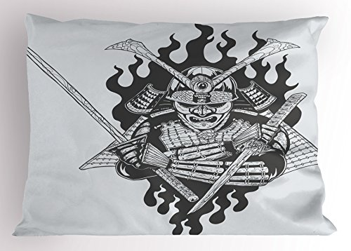 Spiritual Fighter (Japanese Pillow Sham by Lunarable, Fearsome Ghost Ninjain FireOriental Mythology Spiritual Eastern Fighter Print, Decorative Standard Size Printed Pillowcase, 26 X 20 Inches, Black White)