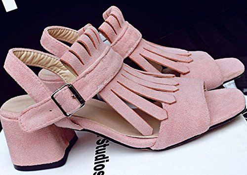 Easemax Womens Trendy Mid Chunky Heel Ankle Buckle Strap Open Toe Fringe Faux Suede Sandals Pink ae7eBZ