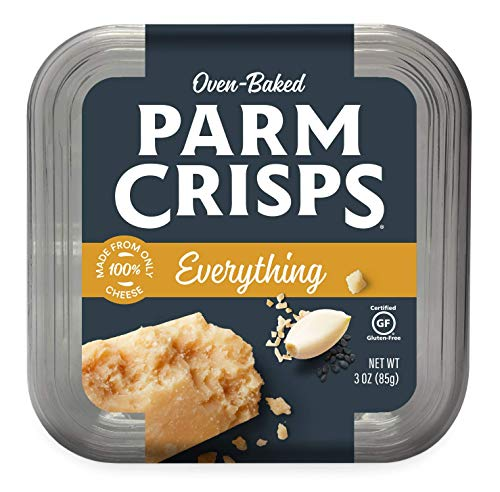 (ParmCrisps, Everything, 100% Cheese Crisps, Keto Friendly, Gluten Free, 3 Ounce Tub, Pack of 4)
