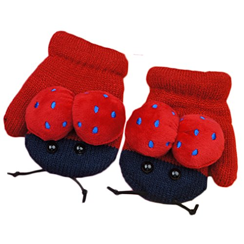 Smartlife Baby Girls Boys Super Warm Wool Yarn Knit Mittens Gloves for Kid 2-5 years (Chafer)