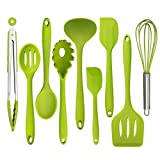 #8: Silicone Kitchen Utensil Set - 9 Piece Flexible Silicon Spatulas Set, Heat Resistant Non Stick Cooking Tools, BPA Free&FDA(Professional, Cookware Kitchen Gadgets, Green)
